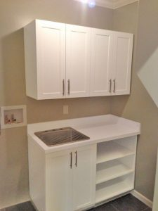 Custom laundry shelves